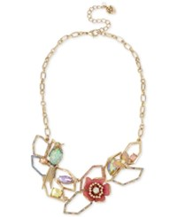 Betsey Johnson Gold Tone Multi Stone Geometric Floral Statement Necklace