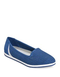 Aerosoles Smart Move Perforated Leather Slip On Sneakers Blue