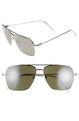 Electric Eyewear Women's 'Av2' 59Mm Navigator Sunglasses Platinum Grey Silver Chrome Platinum Grey Silver Chrome