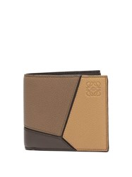 Loewe Puzzle Tri Colour Leather Billfold Wallet Brown