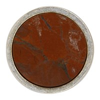 Jil Sander Red And Silver Round Stone Pin