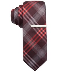 Alfani Men's Mars Plaid Skinny Tie Only At Macy's Red
