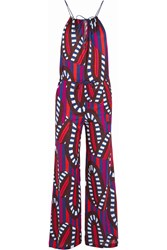 Eres Farah Printed Cotton Jersey Jumpsuit Dark Purple Red