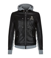 Philipp Plein Beaver Creek Leather Sweat Jacket Male Black