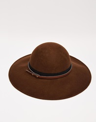 Asos Felt Floppy Hat With Buckle Detail Trim Chocolate