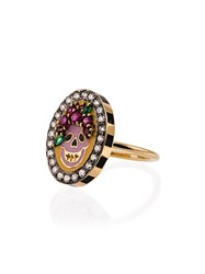 Holly Dyment 18K Yellow Gold Skull Diamond Sapphire Ring Unavailable