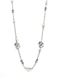 John Hardy Naga 10.5Mm White Pearl Ruby And Sterling Silver Dragon Sautoir Necklace