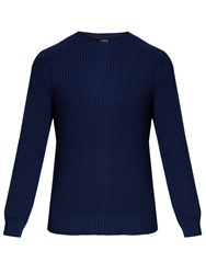 A.P.C. Crew Neck Cotton And Linen Blend Sweater Navy
