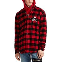 Mastermind Japan Buffalo Plaid Cotton Flannel Shirt Red