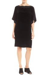 Eileen Fisher Women's Silk Trim Velvet Bateau Neck Shift Dress