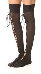 Wolford Lace Up Thigh High Tights Black