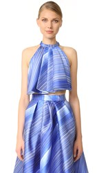 Vika Gazinskaya Pleated Crop Top Blue White