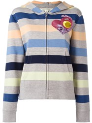 Marc Jacobs Striped Hooded Cardigan Grey