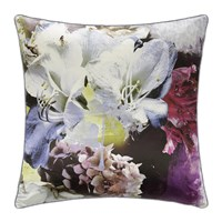 Roberto Cavalli Dark Flower Silk Cushion Fuchsia Multi