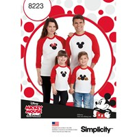 Simplicity Disney Mickey Mouse T Shirt Sewing Pattern 8223 A