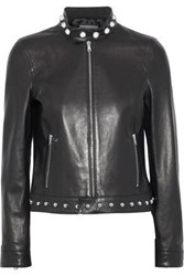 Red Valentino Embroidered Studded Leather Jacket Black