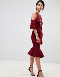 Forever Unique Cold Shoulder Dress With Peplum Hem Deep Red
