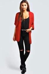 Boohoo Loose Knit Batwing Cardigan Red