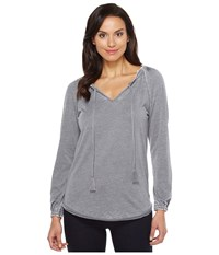 Jag Jeans Peasant Tee In Burnout Jersey Grey Stone Women's T Shirt Gray