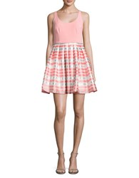 Aidan Aidan Mattox Pleated Fit And Flare Dress Coral
