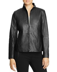 Eileen Fisher Stand Collar Leather Jacket Black
