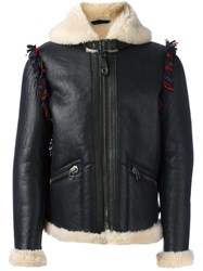 Lanvin Shearling Style Leather Jacket Blue