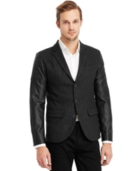 Kenneth Cole Reaction Faux Leather Moto Sleeve Blazer Charcoal Combo