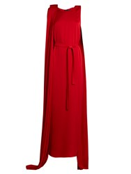 Carl Kapp Fire Cape Side Silk Blend Jersey Gown Red