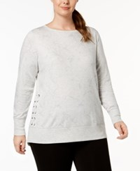 Ideology Plus Size Lace Up Sweatshirt Created For Macy's Bright White