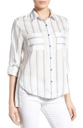 Billy T Women's High Low Plaid Shirt White Blue Stripe