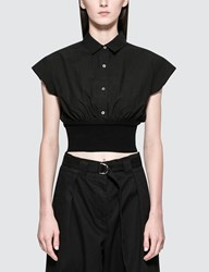 Alexander Wang Washed Cotton Poplin S S Top With Rib Combo