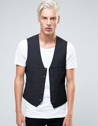 Sisley Slim Fit Waistcoat With All Over Ditsy Triangle Print Black 902