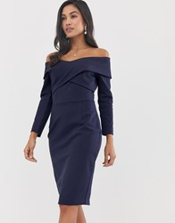 Lavish Alice Off The Shoulder Cross Over Midi Dress In Navy