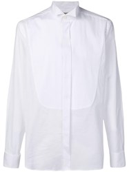 Canali Ribbed Bib Shirt White