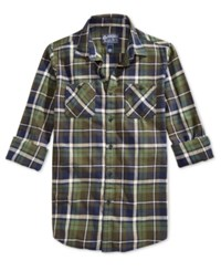 American Rag Men's Plaid Flannel Long Sleeve Shirt Only At Macy's Forest Night