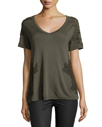 Haute Hippie Short Sleeve V Neck Tee W Mesh Applique Military