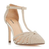 Linea Dilila Strappy T Bar Court Shoes Gold