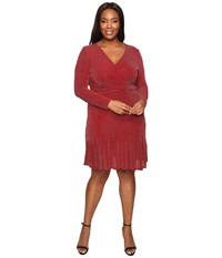 Michael Michael Kors Plus Size Long Sleeve Wrap Flounce Dress Cinnabar Women's Dress Red