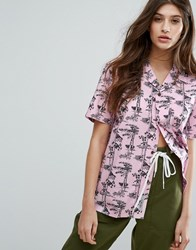 Carhartt Wip Oversized Short Sleeve Shirt In Pine Hawaii Print 81600 Pine Print V Pink