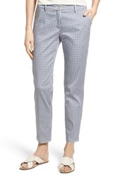 Brax Maron Gingham Stretch Cotton Pants Ocean