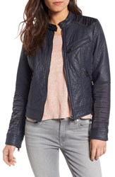 Bernardo Women's Mixed Media Faux Leather Jacket Navy