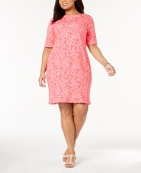 Karen Scott Plus Size Printed Shift Dress Created For Macy's Peony Coral