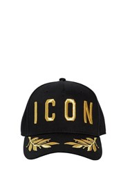 Dsquared Icon Cotton Canvas Baseball Hat Black Gold