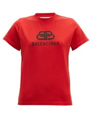 Balenciaga Bb Logo Print Cotton T Shirt Red