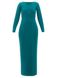 Rebecca De Ravenel Jamie Scoop Neck Wool Crepe Maxi Dress Dark Green