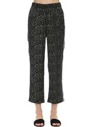 Love Stories Weekend Leopard Print Satin Pajama Pants Black
