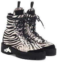 Off White Zebra Effect Calf Hair Ankle Boots White