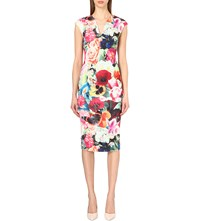 Ted Baker Floral Print Stretch Crepe Dress Fuchsia