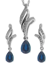No Vendor Sapphire 1 1 10 Ct. T.W. And White Topaz 3 8 Ct. T.W. Jewelry Set In Sterling Silver