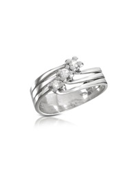 Forzieri 0.12 Ct Three Stone Diamond 18K Gold Ring White Gold